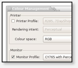 Ensure that any existing profile is disabled, and the Colour space is set to RGB.